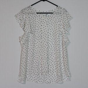 ELLE Ruffle Sleeve White Blouse Size Large